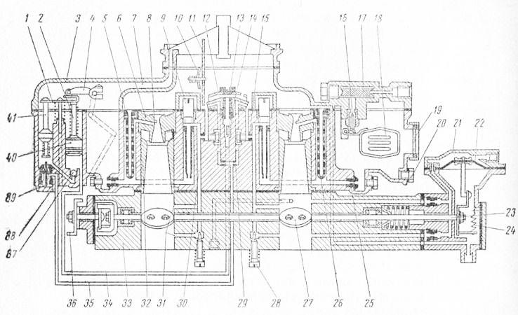 Схема карбюратора К-126Б: 1 и 4—планка и промежуточный рычаг привода ускорительного насоса и экономайзера; 2 и 40...