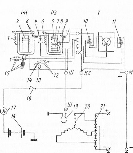 Схема реле-регулятора РР-362: