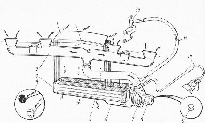 Схема отопления кабины: