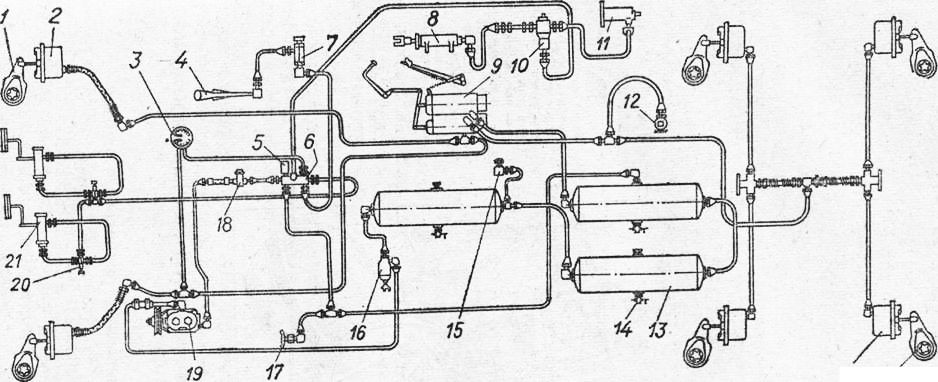 Тормозная система автомобиля камаз 55102 схема6