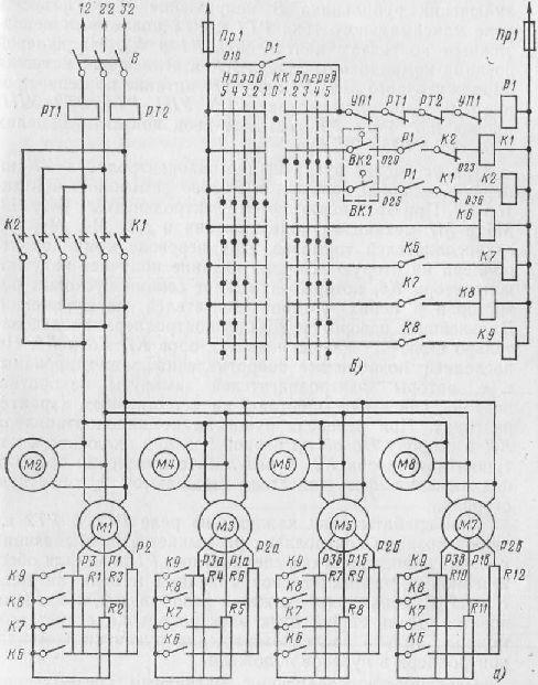 Электрические схемы мостовых кранов.