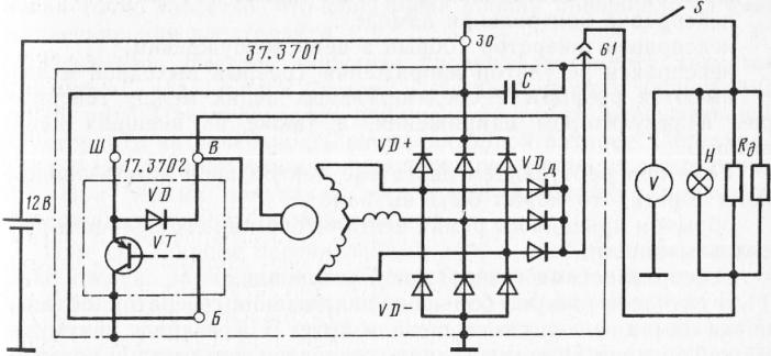 Схема подключения реле регулятора на генераторе6