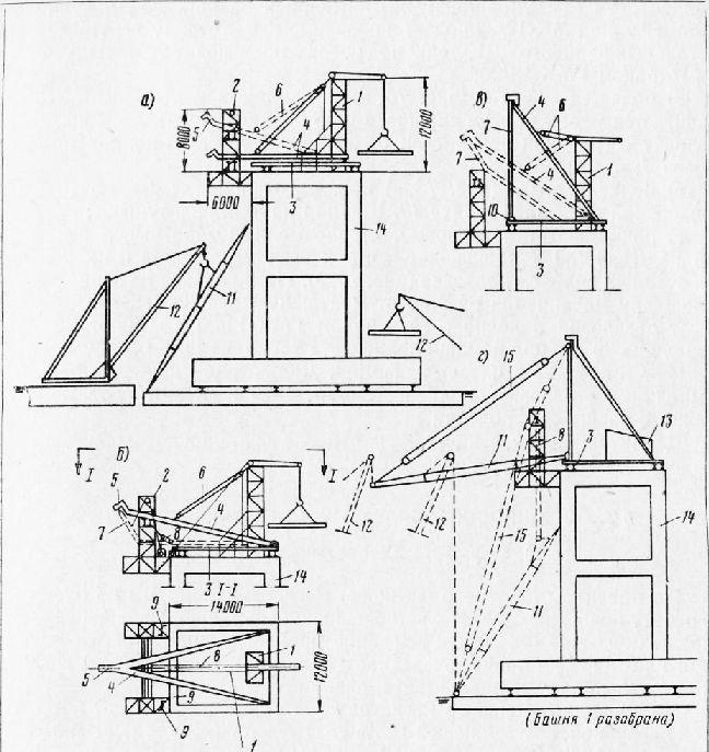 Схема монтажа деррик-крана