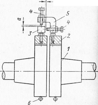 Рис. 44.  Схема установки электродвигателя по шнуру: 1 - компрессор: 2 - электродвигатель; 3 - шкивы; 4 - шнур.