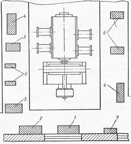 Недалеко от фундамента устанавливают слесарный...  Рис. 8. Схема размещения оборудования на монтажной площадке: 1...