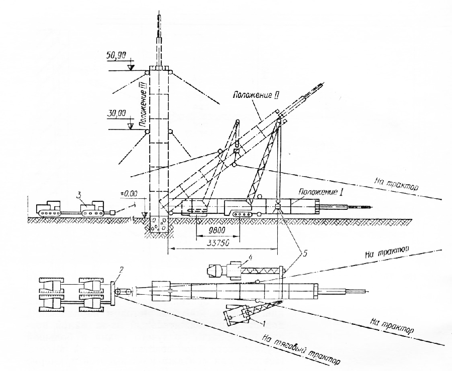 Схема монтажа мачты: 1 — кран