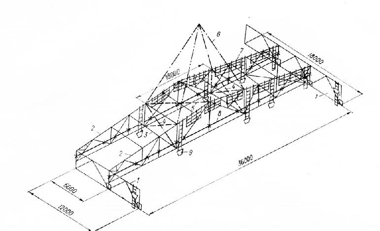 Схема блока стропильных и