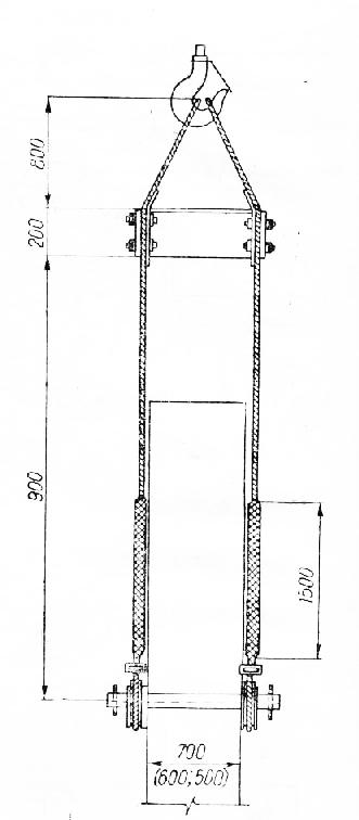 Строповка колонн траверсным