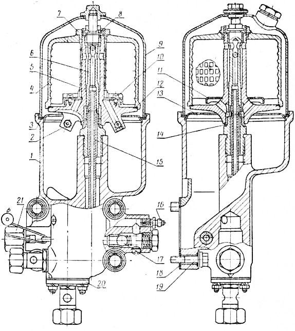 Система смазки двигателя Д 240 - центрифуга, масляный.