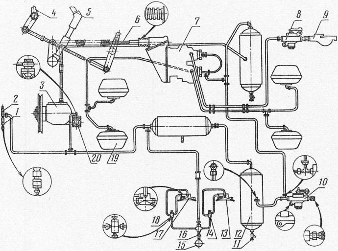 Схема пневматической системы: