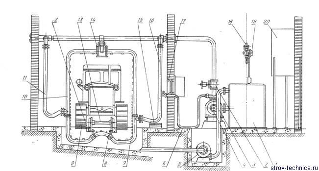 Схема установки для наружной