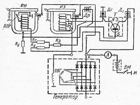 схема реле-регулятора: РН—