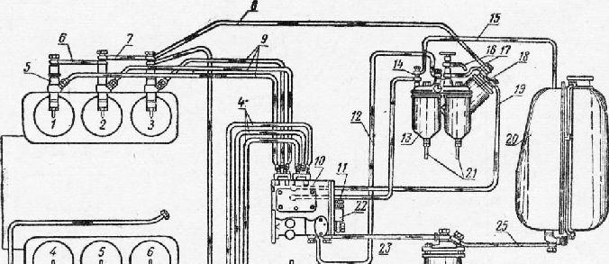 Схема топливной системы: 1, 2,