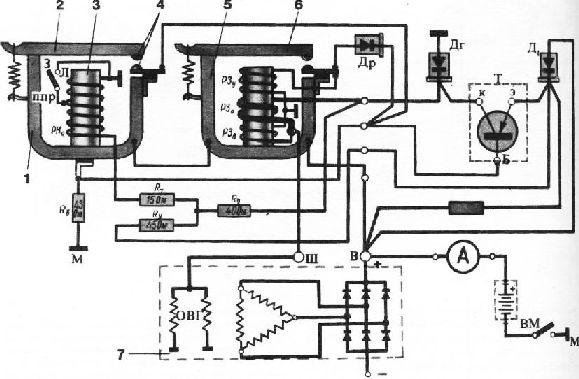 Схема реле-регулятора: 1