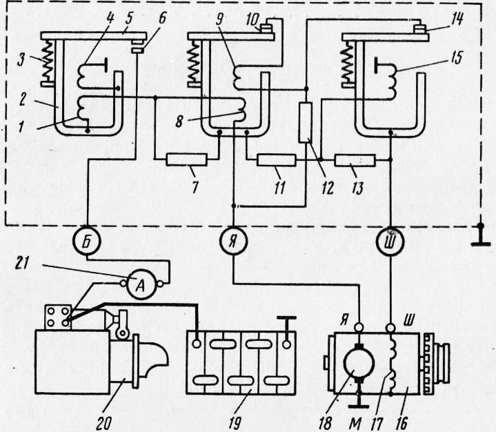 Схема реле-регулятора и его