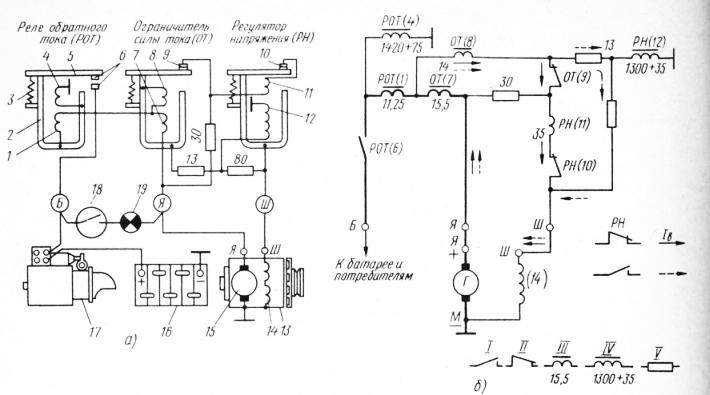 Схемы реле-регулятора РР-130: