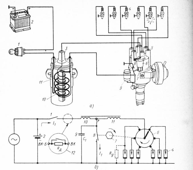 Схема батарейного зажигания: