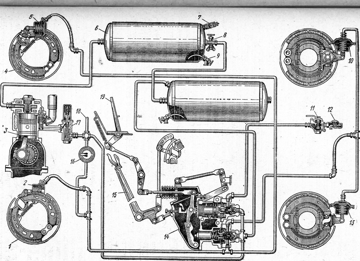 Схема пневматического привода тормозной системы фото 152